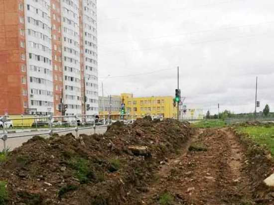 В Серпухове начали строительство еще одного тротуара
