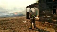 Под Самарой загорелся цыганский поселок: кадры тушения
