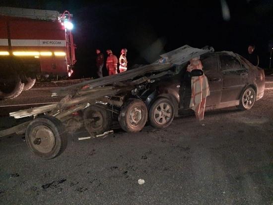 В Чувашии иномарка врезалась в гужевую повозку, пострадали пять человек