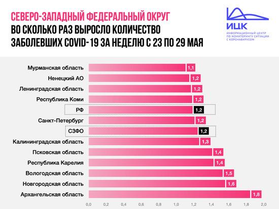 4 региона округа опережают Псков по темпам инфицирования