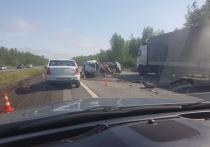 Из-за страшной аварии, которая произошла утром 30 мая оказалось перекрыто движение транспорта по направлению в Москву на трассе М-2