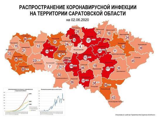 Обновлена карта распределения случаев коронавируса в Саратовской области