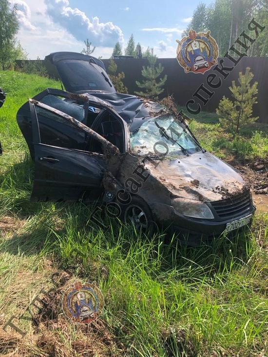 Под Тулой водитель Lada Granta протаранил дорожный знак