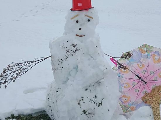 В Бурятии слепили июньского снеговика