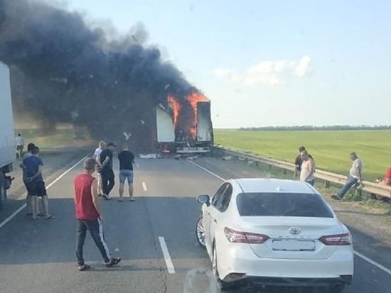 В тамбовской области сгорела фура с мясом