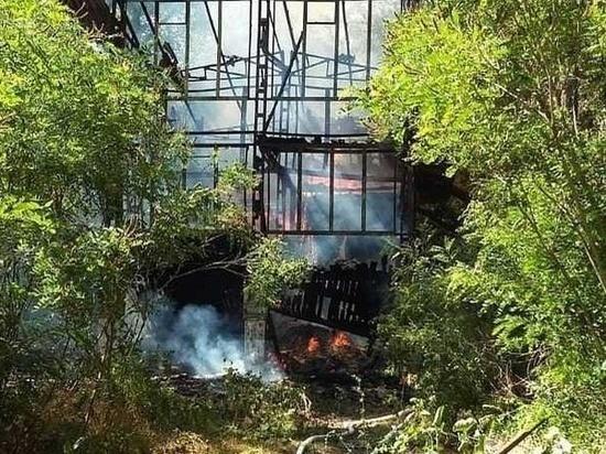 В Ростове-на-Дону сгорела бывшая база отдыха на Зеленом острове