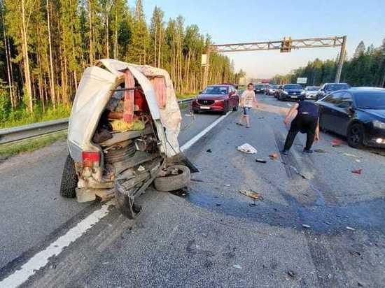 В массовом ДТП на Новоприозерском шоссе пострадали два человека