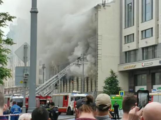 Тверскую улицу в районе пожара полностью перекрыли