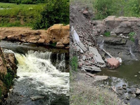 Строительным мусором засыпали водопад в кузбасском селе