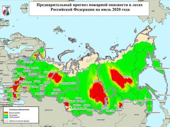 Восток Забайкалья попал в красную зону прогноза лесных пожаров на июль