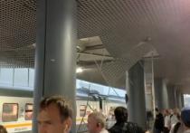 Ураган поломал крышу на станции Тушино в Москве