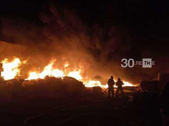 В Казани крупный пожар ликвидировал склады с вторсырьем