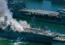 До сих пор охваченный огнем десантный корабль USS Bonhomme Richard, скорее всего, будет потерян навсегда