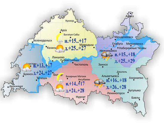 Синоптики Татарстана прогнозируют дожди и + 29 градусов
