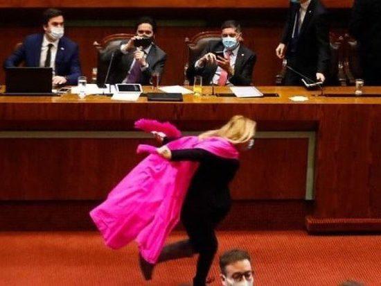 Депутат отпраздновала повышение пенсий танцем в розовом плаще в парламенте