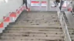 """В Москве затопило переход у станции """"Ботанический сад"""": видео"""