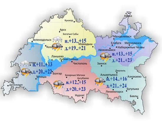 В Татарстане ожидаются дожди с грозами