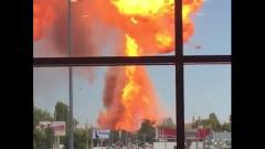 Огненный гриб после взрыва на заправке в Волгограде попал на видео