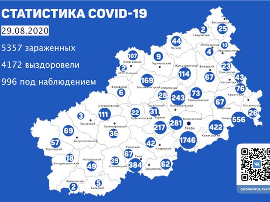 Стало известно, в каких районах Тверской области нашли новых больных COVID-19