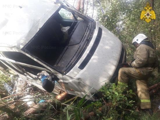 В Калужской области фургон попал на препятствие и вылетел в кювет