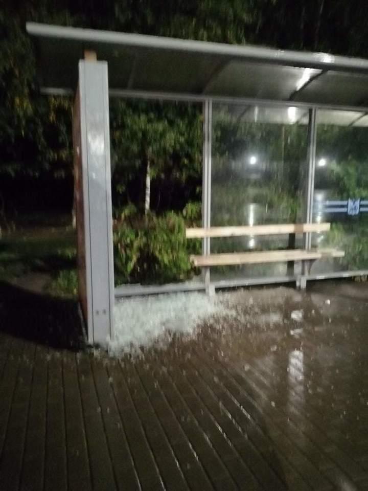 В Пскове на остановке вандалы разбили стеклянный павильон , фото-2