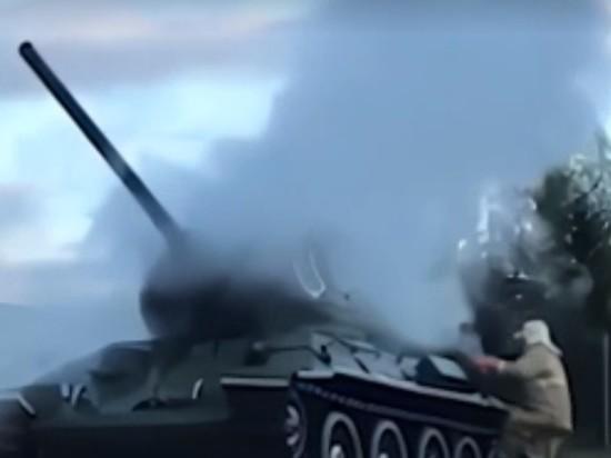 Танк-памятник загорелся в Нижегородской области