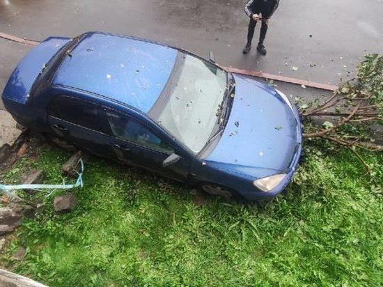 В Кемерове мужчина припарковался на крыльце подъезда и снёс дерево