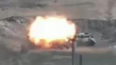 Подбитый азербайжданский танк попал на видео