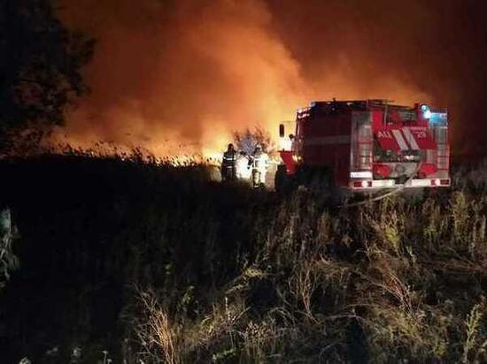 В Аксайском районе потушили крупный ландшафтный пожар