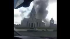 В Карабахе обстреляли старинную церковь с детьми внутри: видео