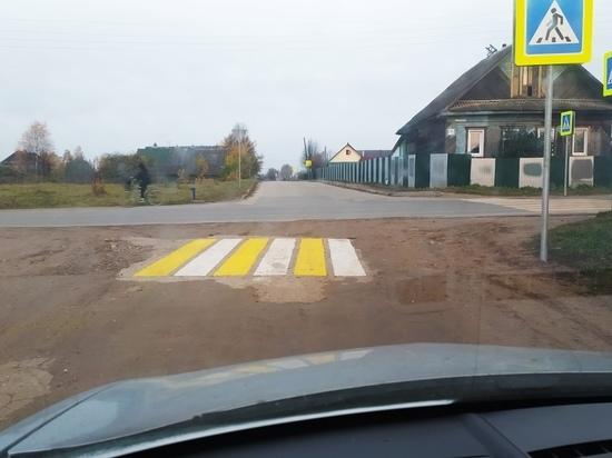 В Тверской области на грунтовой дороге нарисовали «мини-зебру»