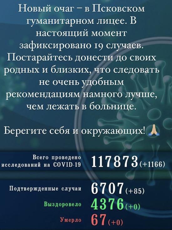 Очаг коронавируса обнаружили в Гуманитарном лицее Пскова