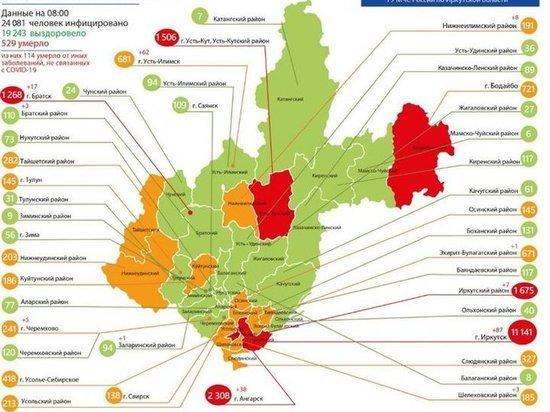 Коронавирус в Приангарье: 232 заболело, 169 выздоровело, 14 умерло