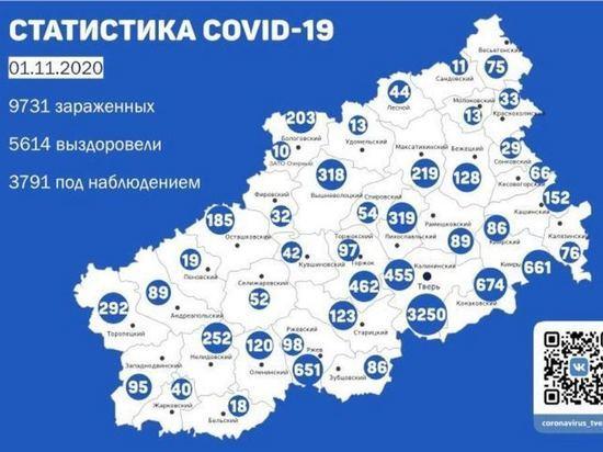 В 28 районах Тверской области  зарегистрировали новые случаи коронавируса за сутки