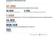 В ЯНАО за сутки зарегистрировано 185 новых случаев COVID-19