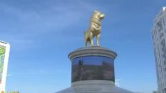 Президент Туркменистана открыл золотой памятник алабаю