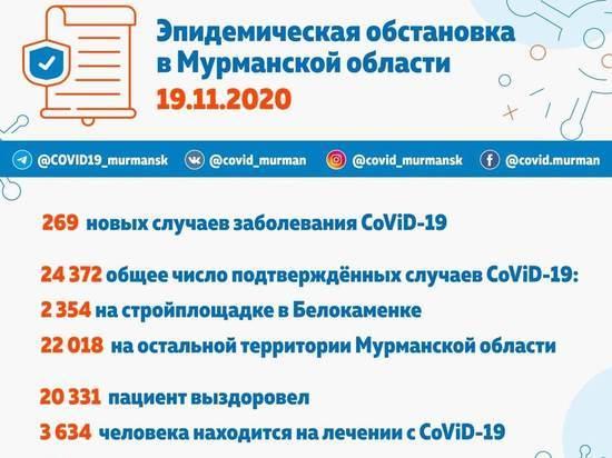 В Мурманской области выявлено 269 новых случаев заражения коронавирусом