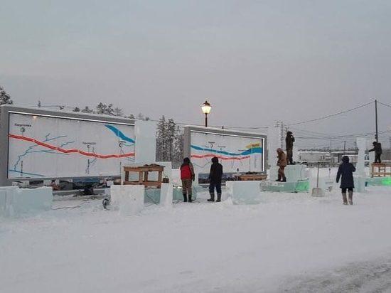 На железнодорожной станции Якутии открылся конкурс ледовых скульптур