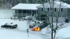 Американец убрал снег на участке огнеметом: зрелищные кадры