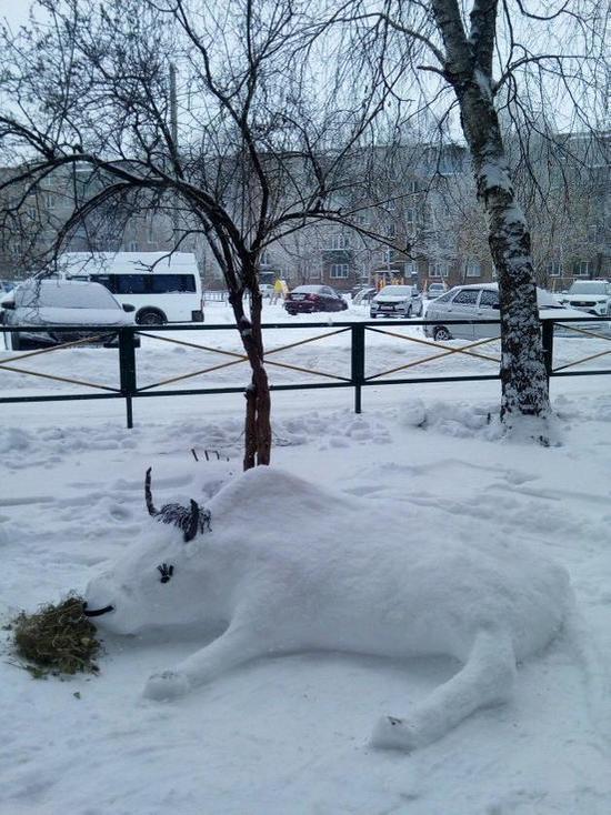 Жительница Бузулука украсила двор снежным быком, но его сломали