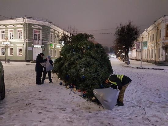 Ледяной дождь повалил новогоднюю елку в Гатчине
