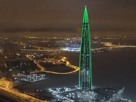 Перед Рождеством «Лахта-Центр» включил онлайн-трансляцию светового шоу