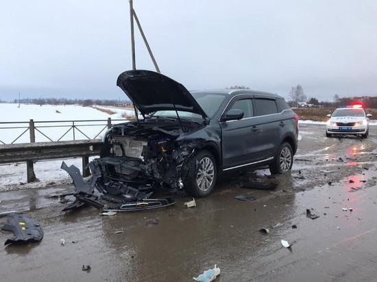 Под Рязанью на трассе М-5 «Хендэ» дважды столкнулся с «Джилли», пострадал водитель