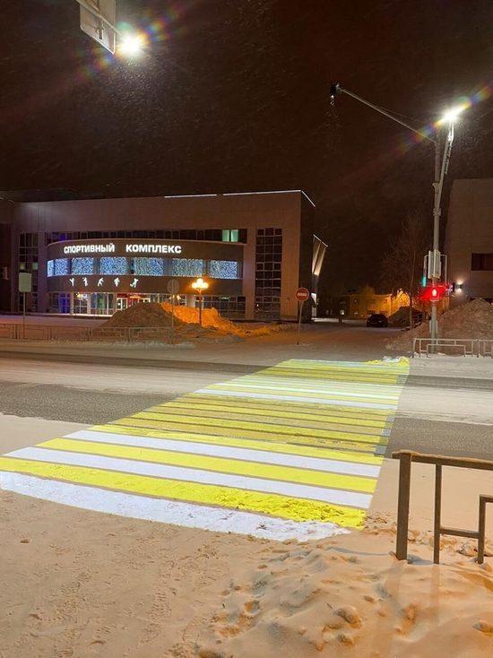 В Губкинском появился первый проекционный пешеходный переход