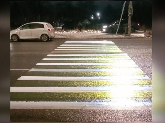 Первый проекционный пешеходный переход появился в Пскове