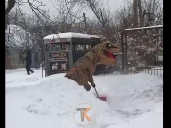 На улицах Краснодара заметили убирающего снег динозавра