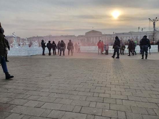 Дымовую шашку в сторону ОМОНа бросили неизвестные в центре Читы