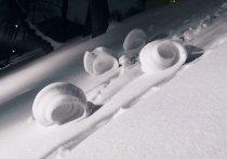 Очень редкое природное явление — снежные рулоны - были замечены в столичном Нескучном саду в субботу