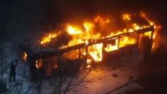 На юго-западе Москвы сгорел рейсовый автобус