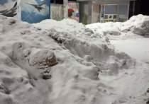 Горы снега в человеческий рост засняли на остановке в Рязани